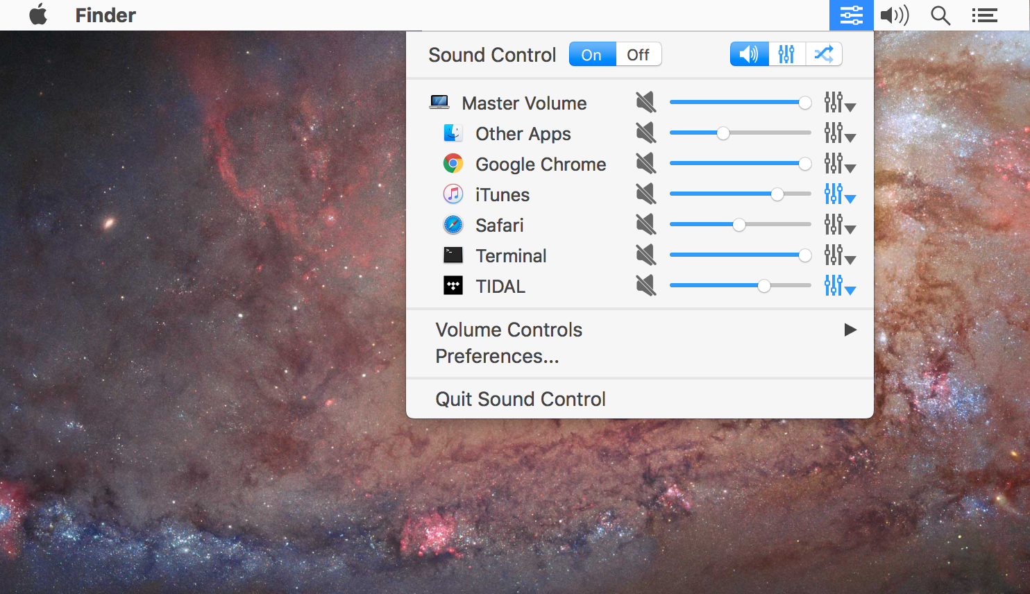 Application volume controls and system-wide EQ for Mac Image